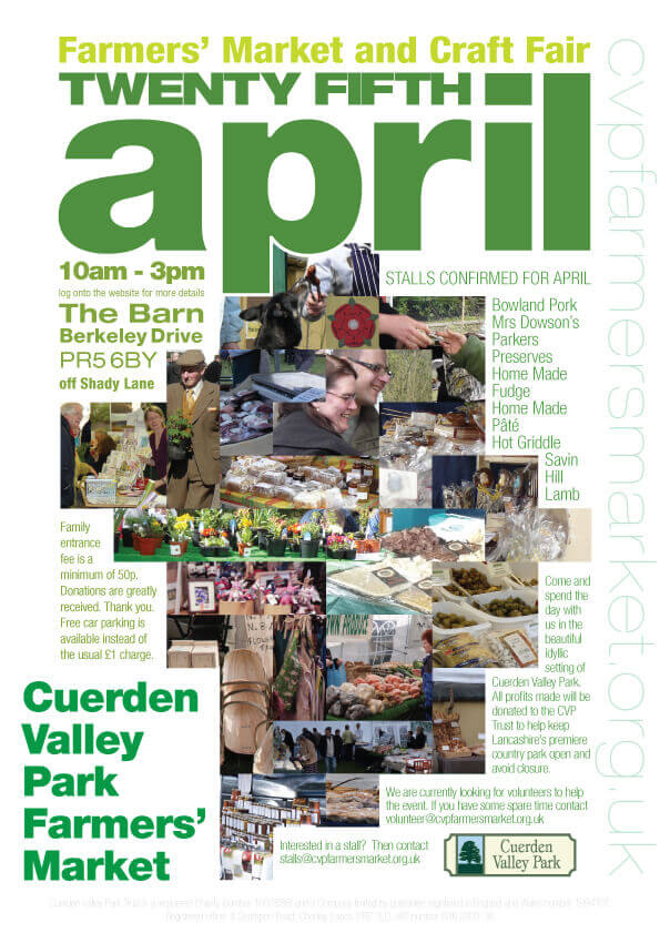 Cuerden Valley Park Farmers Market and Craft Fair April 25 Poster