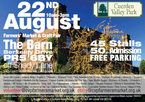 Cuerden Valley Park Farmers Market and Craft Fair August 22 Flier