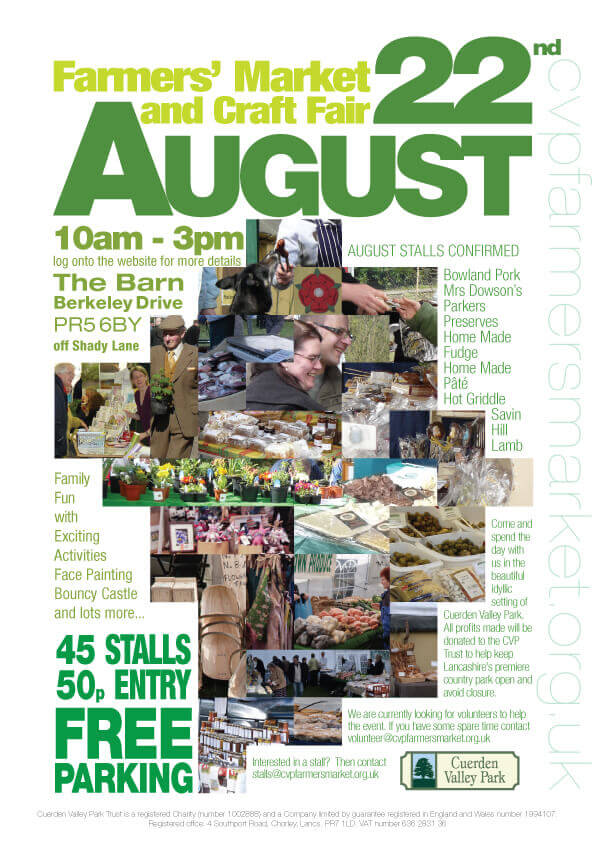 Cuerden Valley Park Farmers Market and Craft Fair August 22 Poster