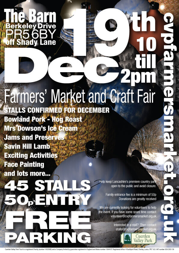 Cuerden Valley Park Farmers Market and Craft Fair December 19 Christmas Flier