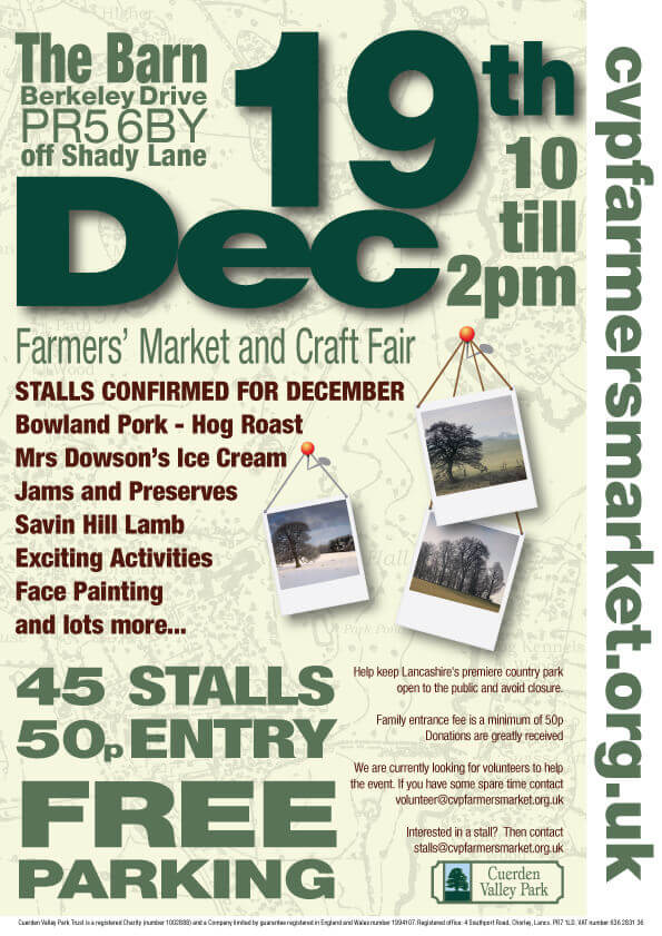 Cuerden Valley Park Farmers Market and Craft Fair December 19 Flier