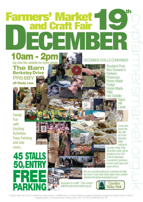 Cuerden Valley Park Farmers Market and Craft Fair December 19 Poster