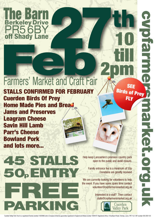 Cuerden Valley Park Farmers Market and Craft Fair February 27 Poster