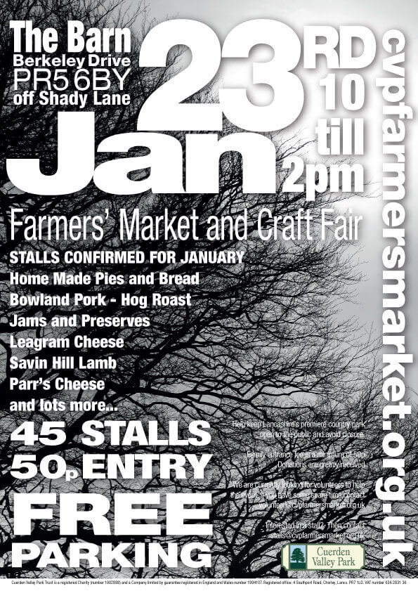 Cuerden Valley Park Farmers Market and Craft Fair January 23 Poster