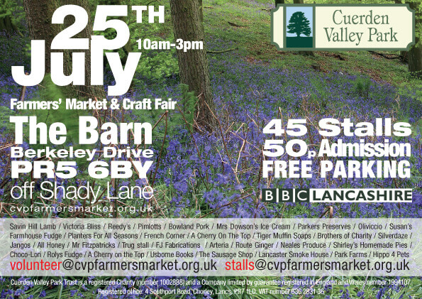 Cuerden Valley Park Farmers Market and Craft Fair July 25 Flier