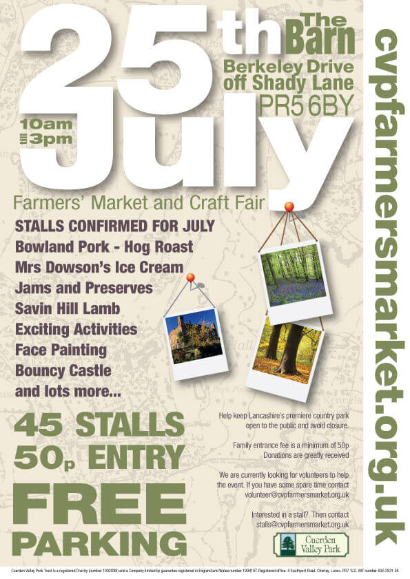 Cuerden Valley Park Farmers Market and Craft Fair July 25 Poster