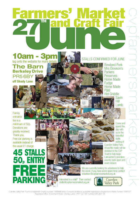Cuerden Valley Park Farmers Market and Craft Fair June 27 Poster