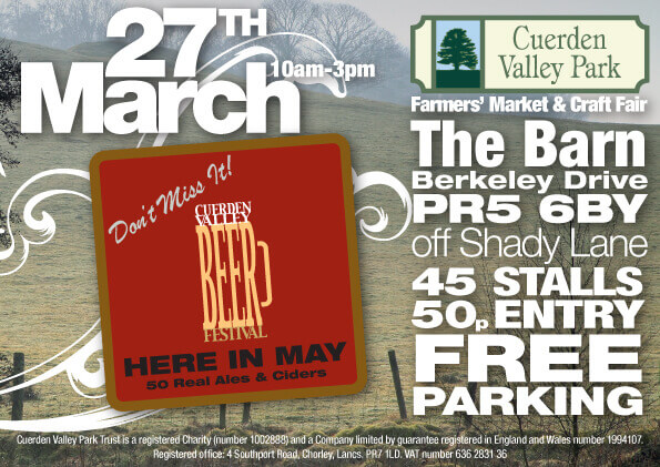 Cuerden Valley Park Farmers Market and Craft Fair Marh 27 Flier