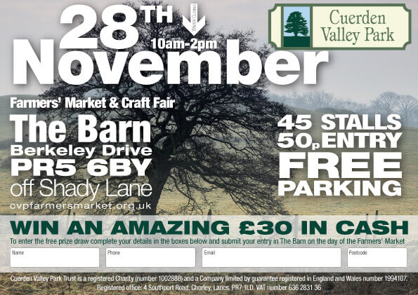 Cuerden Valley Park Farmers Market and Craft Fair November 28 Flier