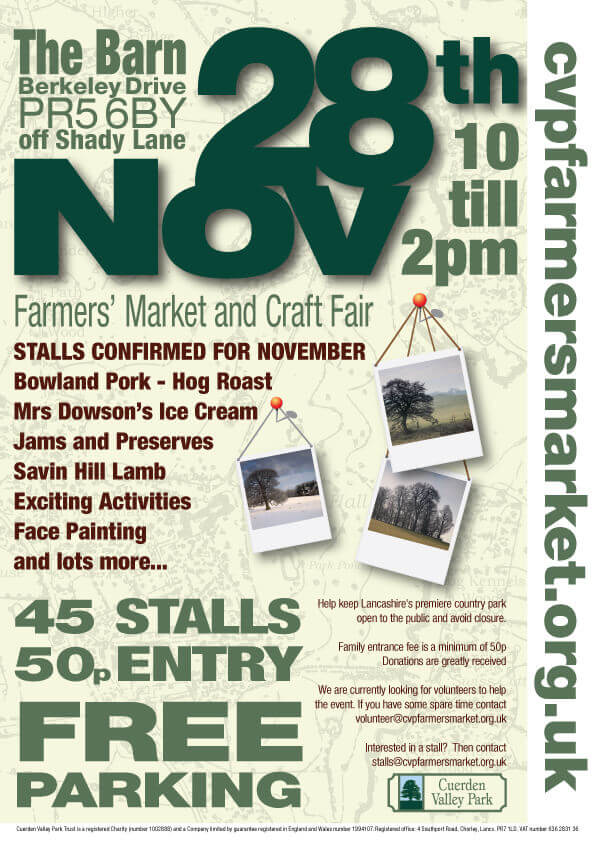 Cuerden Valley Park Farmers Market and Craft Fair November 28 Poster
