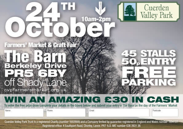 Cuerden Valley Park Farmers Market and Craft Fair October 24 Flier