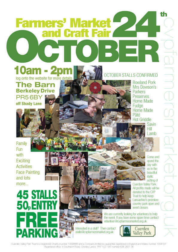 Cuerden Valley Park Farmers Market and Craft Fair October 24 Poster