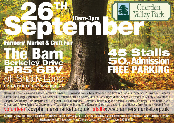 Cuerden Valley Park Farmers Market and Craft Fair September 26 Flier