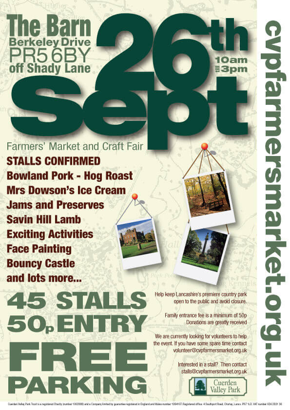Cuerden Valley Park Farmers Market and Craft Fair September 26 Poster