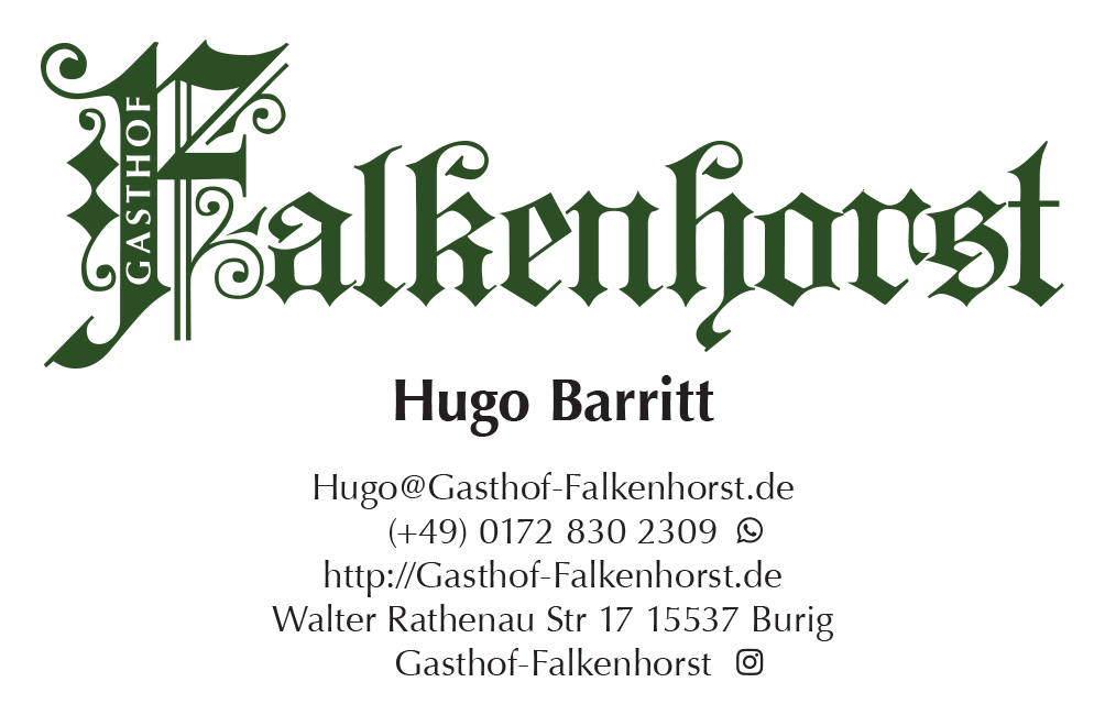 Gastof Falkenhorst Business Card Hugo Barritt