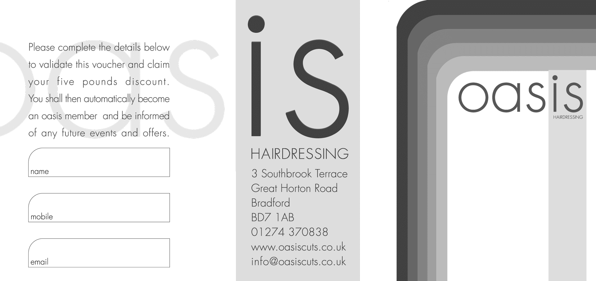 Oasis Hairdressing Voucher Front