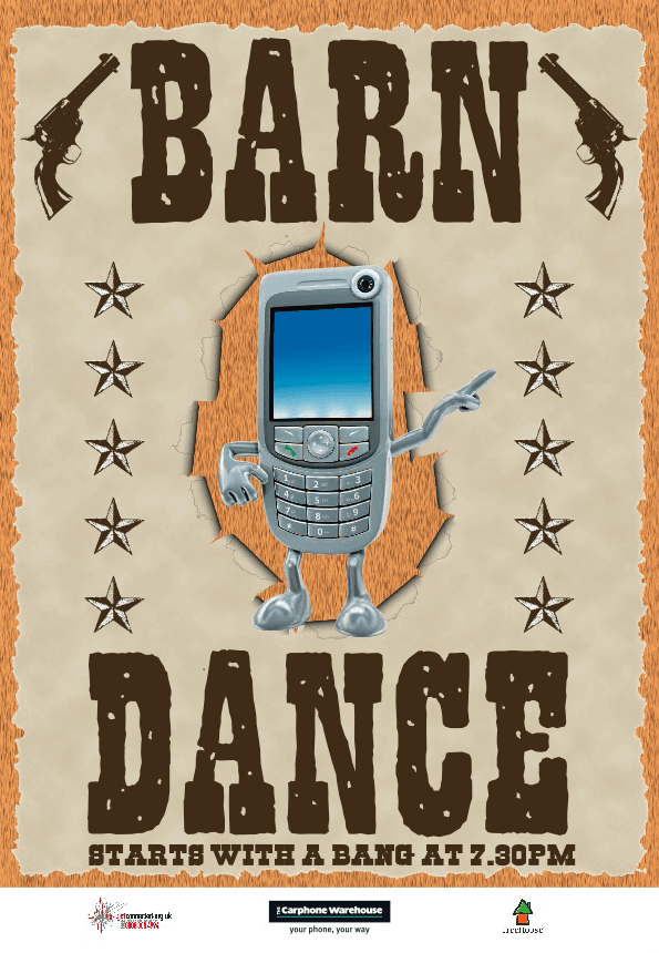 The Carphone Warehouse Charity Barn Dance Flier Front