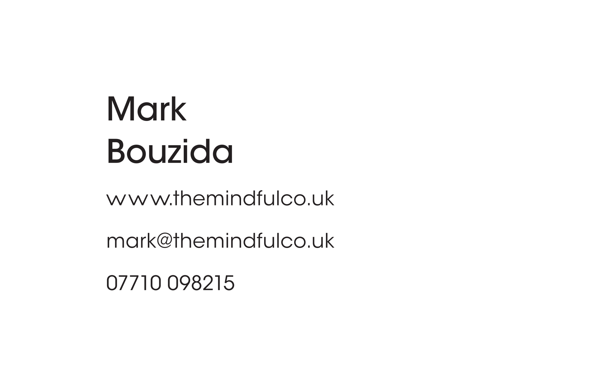 The Mindfulness Co Business Card Reverse Mark Bouzida